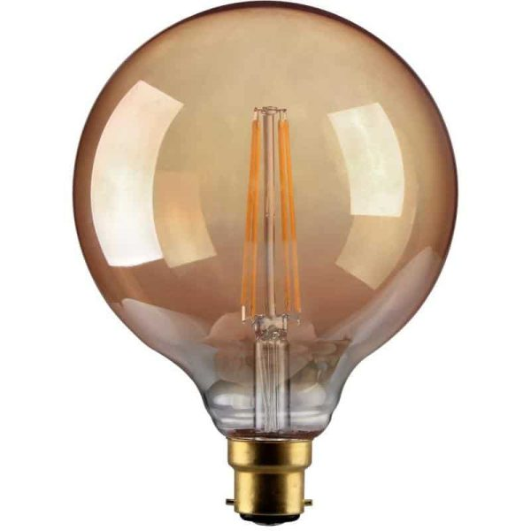 4W Dimmable LED Antique Filament G125 Gold BC Base