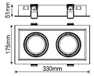 Maly, 608-2 Type White Housing, Cut-out 170mm